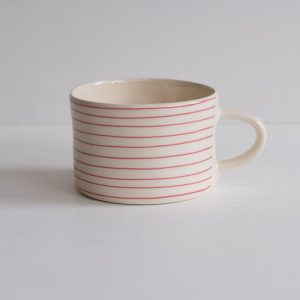 Product image of pink striped coffee mug